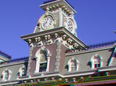 "Magic Kingdom main entrance & Walt Disney World Railroad Main Street Station - Enter ""anaglyph glasses"" in your search engine to order 3D glasses to view in 3D!"