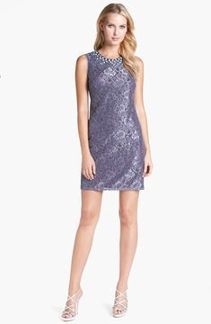 Adrianna Papell Embellished Lace Shift Dress on shopstyle.com