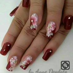 50 Ideas For Nails Almond Design Winter – Nails art Flower Nail Designs, Flower Nail Art, Colorful Nail Designs, Acrylic Nail Designs, Nail Art Designs, Acrylic Nails, Beautiful Nail Art, Gorgeous Nails, Stylish Nails