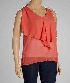 Take a look at this Orange Ruffle Sleeveless V-Neck Top - Plus by Clothing Showroom on #zulily today!