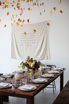 Falling leaves on Thanksgiving table