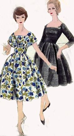 Vintage 50s Vogue 9794 ROCKABILLY Shawl collar Cocktail Dress with Fitted Midriff Sewing Pattern Size 14 Bust 34 UNCUT. $35.00, via Etsy.