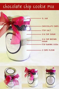 A great gift idea using mason jars! Fill a mason jar with all the ingredients needed to make chocolate chip cookies. (Click Pic for 25 DIY Christmas Gift Ideas) Mix 1 cup butter, 1 egg and a tsp of vanilla. Mix jar's content with wet ingredients. put a tablespoon of batter on a cookie sheet and bake for 10 mins @ 350F