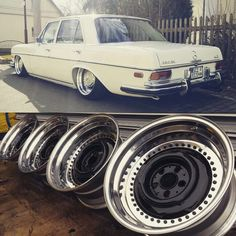 I would love to have a set of those for my Mercedes! Mercedes Auto, Mercedes W114, Custom Mercedes, Old Mercedes, Mercedes Benz 190, Classic Mercedes, M Benz, Old School Cars, Sweet Cars