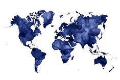 Watercolor world map Wall Mural / Wallpaper Maps World Map Sticker, World Map Wallpaper, World Map Poster, World Map Wall Art, World Maps, World Map Decor, Aesthetic Desktop Wallpaper, Retro Wallpaper, Tumblr Wallpaper