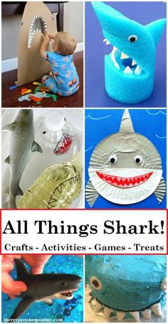 Looking for fun activities for Shark Week? Find over 40 shark crafts and shark activities, including shark games and tasty treats. Shark Activities, Summer Activities For Kids, Summer Kids, Craft Activities, Preschool Crafts, Shark Games For Kids, Zoo Crafts, Ladybug Crafts, Dinosaur Crafts