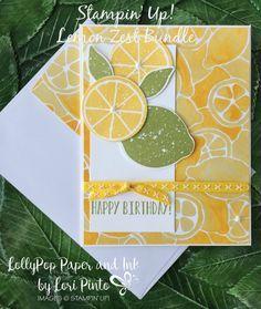 Stampin' Up!, Lemon Zest Stamp Set and Bundle, Happy Birthday Paper Fruit, Stampin Up Catalog, Embossed Cards, Stamping Up Cards, Handmade Birthday Cards, Paper Cards, Flower Cards, Homemade Cards, Making Ideas