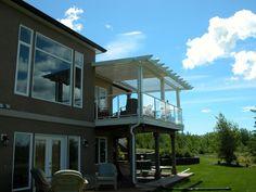 Calgary Decks - Showroom for Sunroom, Patio Covers, Vinyl Windows and More, DesertSunPatios Ltd. Covered Decks, Calgary, Sunroom, Pergola, Vinyl Windows, Patio, Yard Ideas, Architecture, Outdoor Decor