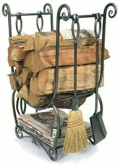 The Country Hearth Wood Holder and fireplace tool set does it all. Store your wood, newspaper, kindling and hearth tools on one beautiful wrought iron frame. Indoor Firewood Rack, Firewood Storage, Firewood Stand, Fireplace Tool Set, Fireplace Hearth, Fireplaces, Bedroom Fireplace, Range Buche, Log Holder