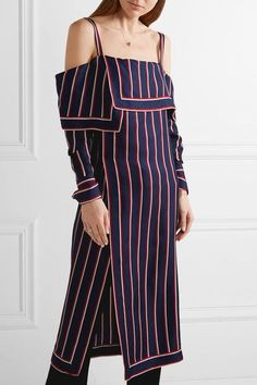 Monse - Off-the-shoulder Wrap-effect Striped Silk-twill Top - Navy - US0
