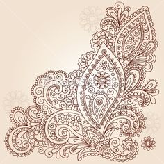 Henna Mehndi Paisley Flowers Doodle Vector Design by blue67 - Vektorgrafik