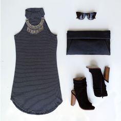 Lines Of Communication Striped Dress #ootd #ootn #gojane #booties