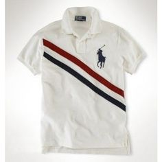Ralph Lauren Custom Leisure Breathable Navy White Stripe Polo