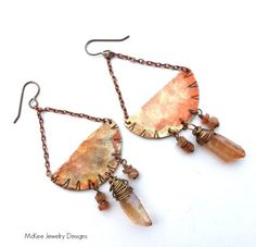 Reeds. Copper textured earrings. Long dangle, chain, gemstone, peach, sunstone, copper jewelry. McKee Jewelry Designs