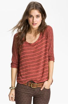 Free People 'Last Call' Striped Baseball Sweater available at #Nordstrom