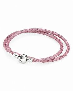 Pandora Bracelet - Pink Leather Double Wrap with Sterling Silver Clasp, Moments Collection