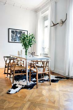 wishbone chairs and cowhide