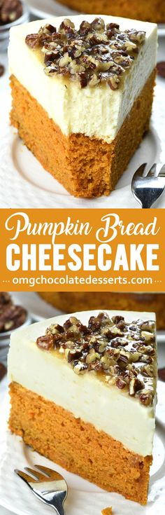 Pumpkin Bread Cheesecake with Pecan Praline Topping is an easy dessert recipe for holiday season, especially Thanksgiving and Christmas! season Pumpkin Bread Cheesecake with Pecan Praline Topping No Bake Vanilla Cheesecake, Sweet Potato Cheesecake, Cheesecake Recipes, Pecan Cheesecake, Pumpkin Coffee Cakes, Pumpkin Dessert, Pumpkin Bread, Homemade Pumpkin Puree, Pumpkin Recipes