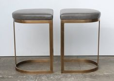 Milo Baughman Burnished Brass Bar Stools in Grey Leather l Recreation Game Rooms l www.DreamBuildersOBX.com