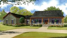 3 Bed Country Home Plan with 2 Porches - 70516MK - 01
