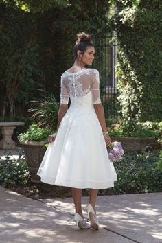 Sincerity Bridal - Style 4000: Lace Trimmed Tea-Length Dress with Elbow Length Sleeve Jacket