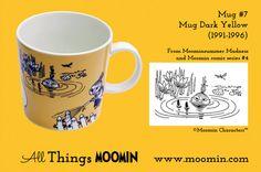 Moomin mug by Arabia Mug - Dark Yellow Produced: Illustrated by Camilla Moberg and manufactured by Arabia. The original comic strip can be found in Moomin comic album and Midsummer Madness. Moomin Mugs, Finland, Tableware, History, Dark, Camilla, Yellow, Madness, Universe