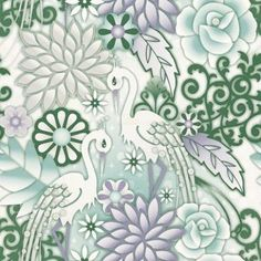 Garzas (1280054) - Paper Moon Wallpapers - Magical bejewelled storks in a psychedelic garden of flowers. Shown in rich ice cream colours: teal and dark green, lavender and white. Paste the wall. Please request a  sample for a true colour match. As this is a special order product, it may take 7-10 working days.