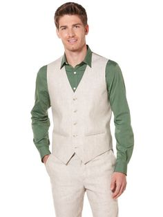 Linen Cotton Suit Vest & Pants. Our guys suits for the wedding.. (minus that green shirt) + white dress shirt and pink tie. LOVE it on my groom!