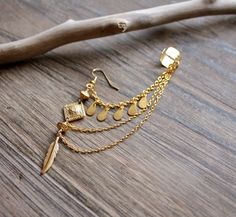Gold Ear Cuff Long Bohemian Style India / Indian / by Montrigue, $34.00
