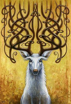 celtic design horns on white deer