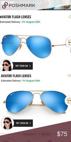 523f4bb59b016 Rayban Aviator Flash Lense - Blue Lense Sunglasses Rayban Aviator Flash  Lense - Blue Lense sunglasses