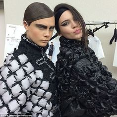 Behind the scenes: Cara Delevingne (L) posted this photo in which she posed alongside close friend Kendall (R) before the two modeled Chanel's looks at The Grand Palais