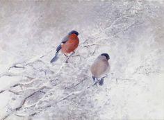 Wildlife Paintings, Wildlife Art, Bullfinch, Bird Art, Land Scape, Art Pictures, Art Reference, Scandinavian, Auction