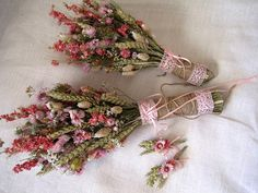 Wedding country bouquets set shabby chic pink by FlowerDecoupage, €59.75