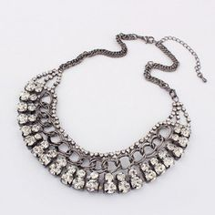 $7.06 Exaggerated Chic Style Rhinestoned Women's Camber Alloy Choker Necklace