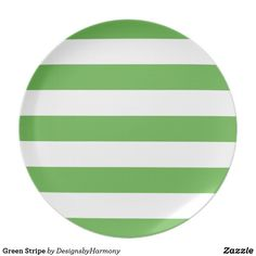 Green Stripe Melamine Plate