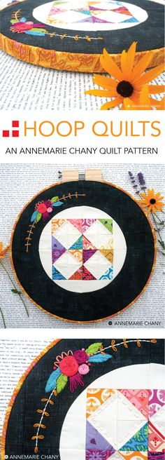 Hoop Quilts PDF Pattern by AnneMarie Chany.  Make in 3 different sizes.  Customize Half Square Triangle lay out and stitch embellishment.