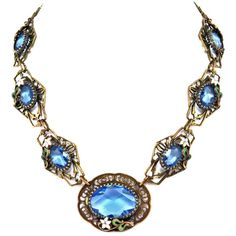 Czech Necklace Ceylon Sapphire Blue Glass Filigree Enameled Flowers ($145) ❤ liked on Polyvore featuring jewelry, necklaces, vintage necklace, sapphire necklace, glass necklace, blue flower necklace and vintage leaf necklace