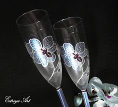 Hand painted wedding glasses toasting flutes champagne