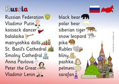 A printable desktop reference mat featuring words and pictures associated with the country of Russia. Vladimir Lenin, Anna Pavlova, Peter The Great, Free Teaching Resources, Matryoshka Doll, Siberian Tiger, Snow Leopard, Black Bear, Preschool Activities