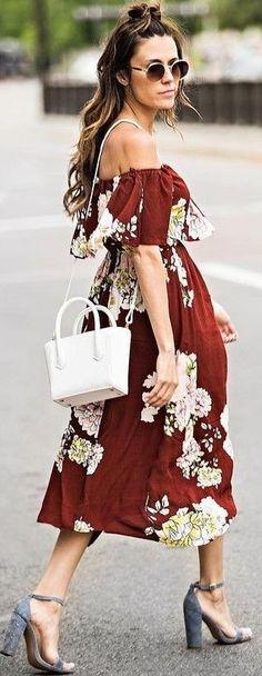 #summer #elegant #feminine   Off The Shoulder Maxi Dress + White Tiny Tote