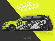 EightEleven Design o Cool Car Stickers, Car Decals, Bugatti Cars, Vw Cars, Car Folie, Design Autos, Motorcycle Decals, Vehicle Signage, Racing Car Design