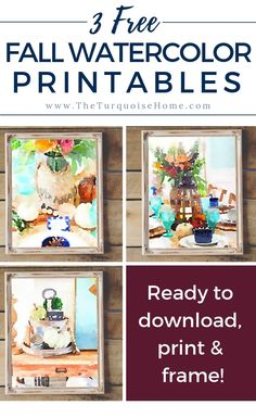 I love a free printable! You only need a printer and a frame to add some seasonal decor to your home. And these fall watercolor printables are so pretty! Seasonal Decor, Fall Decorations, Holiday Decor, Decorating Blogs, Fall Crafts, Printable Wall Art, Framed Prints, Watercolor, Decor Ideas