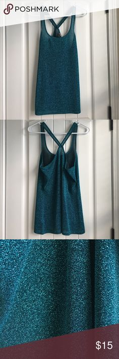 EUC Express tank EUC shear shimmery teal Express tank. Only worn once. 62% nylon 38% metallic. Smoke free pet free home. Express Tops Tank Tops