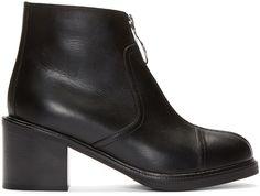 MM6 Maison Margiela - Black Leather Zip-Front Ankle Boots