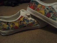 Comic book shoes DIY you need Kmart tennies a comic book of your choice modpodge .... I'm think maybe the kids will. Be wearing all their fav's