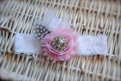Pink Shabby Chiffon Flower with a Rhinestone on by MadiMosBows, $8.00 www.madimosbows.etsy.com