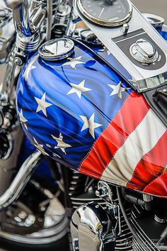 US Flag Harley Davidson motorcycle::