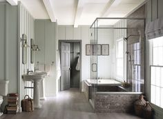 Gray Mirage 2142-50, with its subtle green undertones, covers the walls in a matte finish