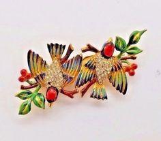 1940-039-s-CORO-CRAFT-GOLD-WASH-STERLING-ENAMEL-DUETTE-BIRDS-RHINESTONE-BROOCH-PINs